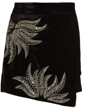 Dodo Bar Or Paula Embellished Velvet Mini Skirt - Womens - Black