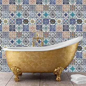 Mural Walplus 54x54 cm Wall Stickers Mosaic Tile Patterns Removable Self-Adhesive Art Decals Vinyl Home Decoration DIY Living Bedroom Office Décor Wallpaper Kids Room Gift, Multi-colour
