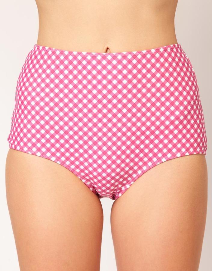 ASOS Gingham High Waisted Bikini Brief