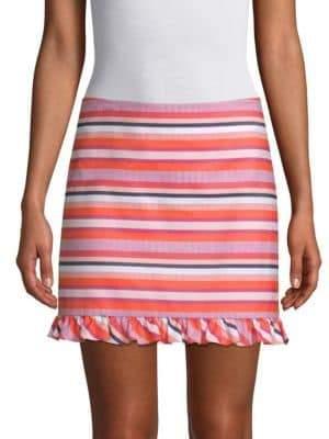 Trina Turk Straight-Fit Striped Ruffle Mini Skirt