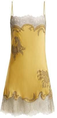 Carine Gilson Lace Trimmed Silk Satin Slip Dress - Womens - Light Yellow