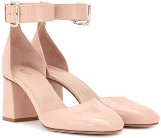 Red (V) RED (V) patent leather block heel pumps