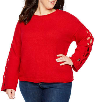 Boutique + + Cut Out Sleeve Crew Neck Pullover Sweater - Plus