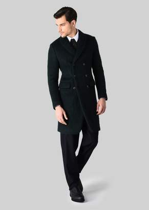Giorgio Armani Double-Breasted Coat In Wool And Mohair