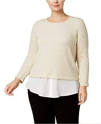 Calvin Klein Women's Plus Size Ribbed Lurex 2fer Top