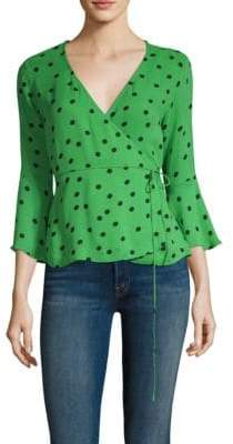 Ganni Polka Dot Wrap Blouse