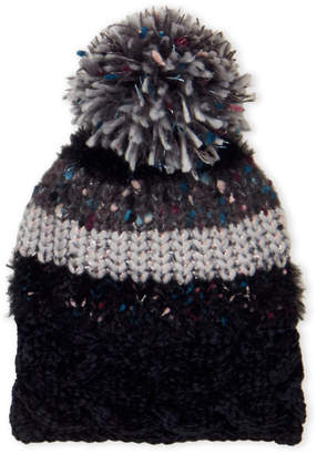 Cejon Mix Media Pom-Pom Beanie