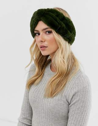 Pieces faux fur headband in green