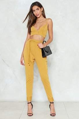 Nasty Gal Set 'Em Straight Pinstripe Bralette and Pants Set