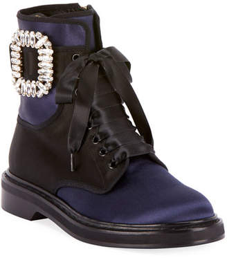 Roger Vivier Viv Rangers Strass Lace-Up Booties