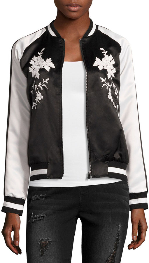 BELLE + SKY Satin Embroidered Bomber Jacket