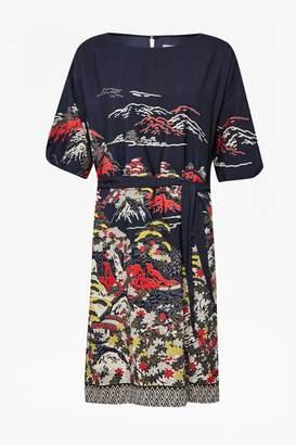 Geisha Print Shift Dress