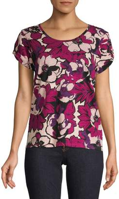 Lord & Taylor Petite Short Sleeve Floral Tee