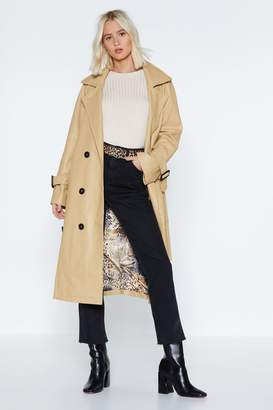 Nasty Gal Rain Check Faux Leather Trench Coat
