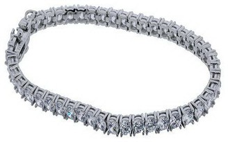 Diamonique Round Prong Set Tennis Bracelet, Platinum Clad
