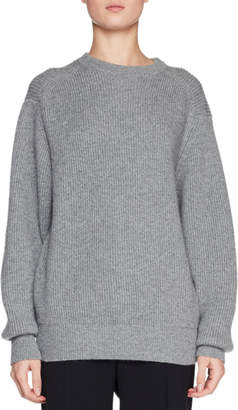 The Row Evanley Crewneck Ribbed Cashmere Sweater