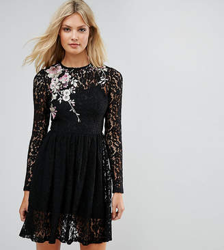 Asos Tall TALL All Over Lace Mini Dress with Floral Embroidery