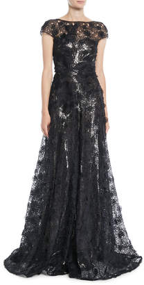 Naeem Khan Cap-Sleeve Fitted-Bodice A-Line Lace Evening Gown w/ Metallic Lining