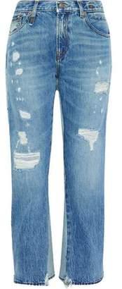 R 13 Keaton Layered Distressed High-Rise Kick-Flare Jeans
