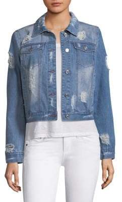 Feather Panel Distressed Denim Jacket