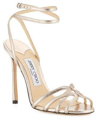 Jimmy Choo Mimi Metallic Leather Sandals