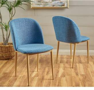 Noble House Abraham Fabric Dining Chairs,Blue
