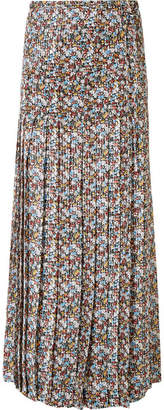 Victoria Beckham Pleated Floral-print Metallic Silk-blend Chiffon Maxi Skirt - Blue