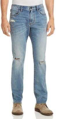 John Varvatos Bowery Slim Fit Jeans in Distressed Blue - 100% Exclusive