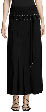 Lace Up Pleated Midi Skirt