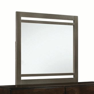 ACME Furniture Acme Charleen Rectangular Mirror with Wooden Frame in Walnut