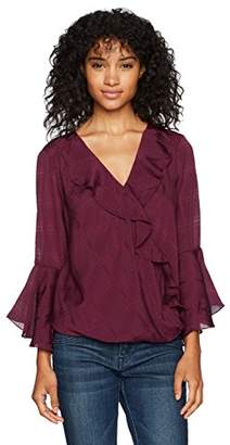 Amy Byer A. Byer Junior's Long Bell Sleeve Ruffle Wrap Front Top (Junior's)