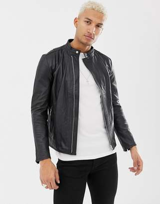 Religion leather racer jacket in black