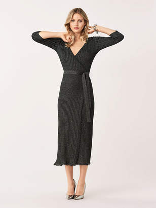 Diane von Furstenberg Bobbi Metallic Wool-Blend Wrap Dress