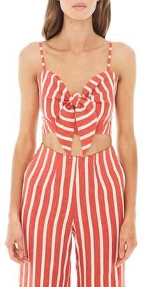 Faithfull The Brand De Fiori Stripe Linen Crop Top