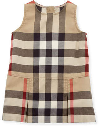 Burberry Dawny Sleeveless Pleated Check Dress, New Classic, Size 6M-3