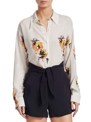 A.L.C. Calder Floral-Print Silk Shirt