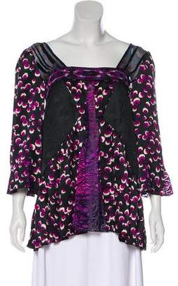 Anna Sui Printed Long Sleeve Blouse