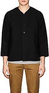 Visvim Men's Linen-Blend Baseball Shirt - Black