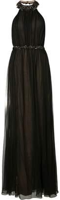 Marchesa beaded halterneck gown