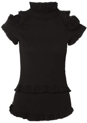 Maggie Marilyn - Dreaming Of You Ruffled Cutout Ribbed-knit Top - Black