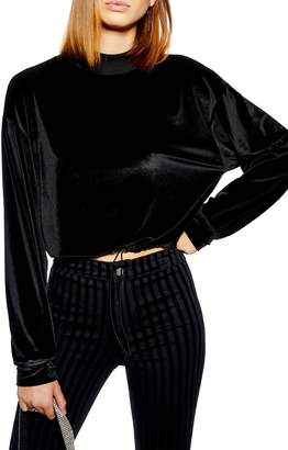 Topshop Velour Cropped Sweater