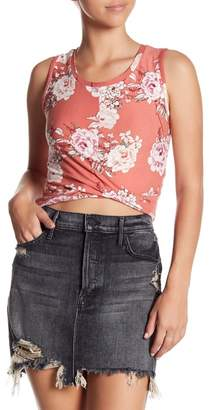 Planet Gold Crew Neck Sleeveless Twist Front Floral Print Top