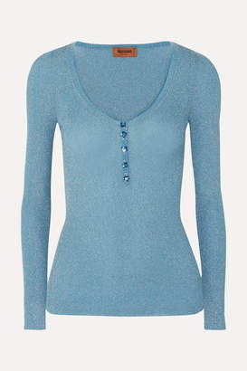 Missoni Metallic Crochet-knit Top - Blue