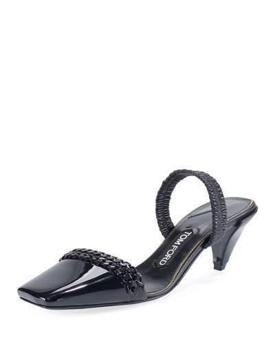 TOM FORD Halter Chain Patent 50mm Pump, Black