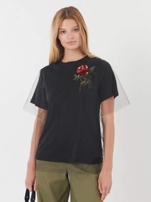 Oscar de la Renta Embroidered Tulle-Overlay T-Shirt