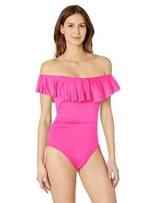 222533ddeadce La Blanca Women's Island Goddess Off Shoulder Ruffle One Piece Swimsuit