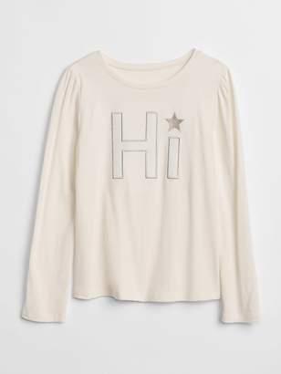 Gap Metallic Graphic Long Sleeve T-Shirt