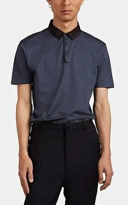 Lanvin Men's Striped Cotton Polo Shirt - Blue