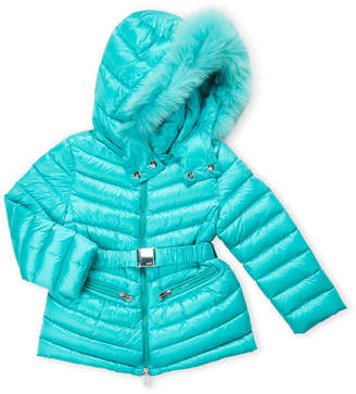 ADD Girls 4-6x) Quilted Real Fur Belted Down Jacket
