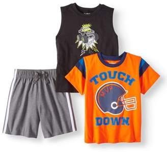 Garanimals Toddler Boy Tank Top, Graphic T-shirt & Jersey Tape Shorts, 3pc Set